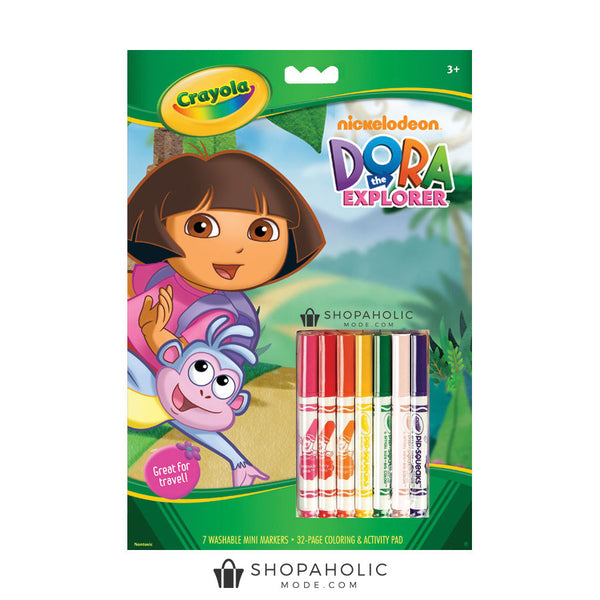 32 Page Crayola Dora the Explorer Colouring & Activity Pad + 7 Washable Markers