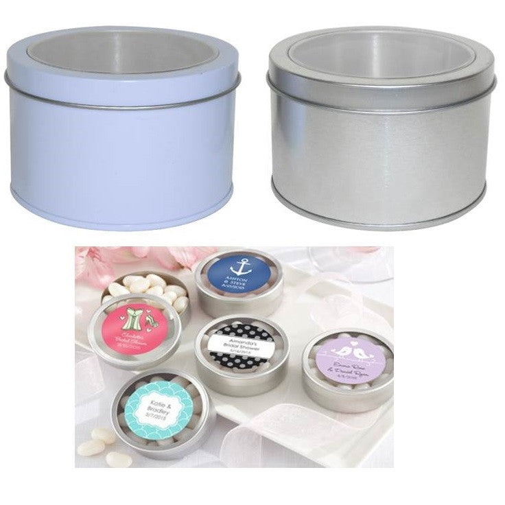 6 x Large Window Faced Round Bomboniere Tins 9.5cm x 6cm - 2 Colours Available