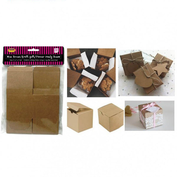 10 Brown Kraft Paper Gift / Favour Candy Boxes - 7.6cm x 7.6cm x 7.6cm