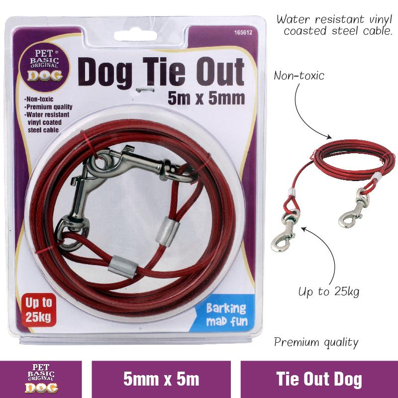Dog Tie Out Cable 5M Pet Long Leash durable Restraint Safety Leashes Strong