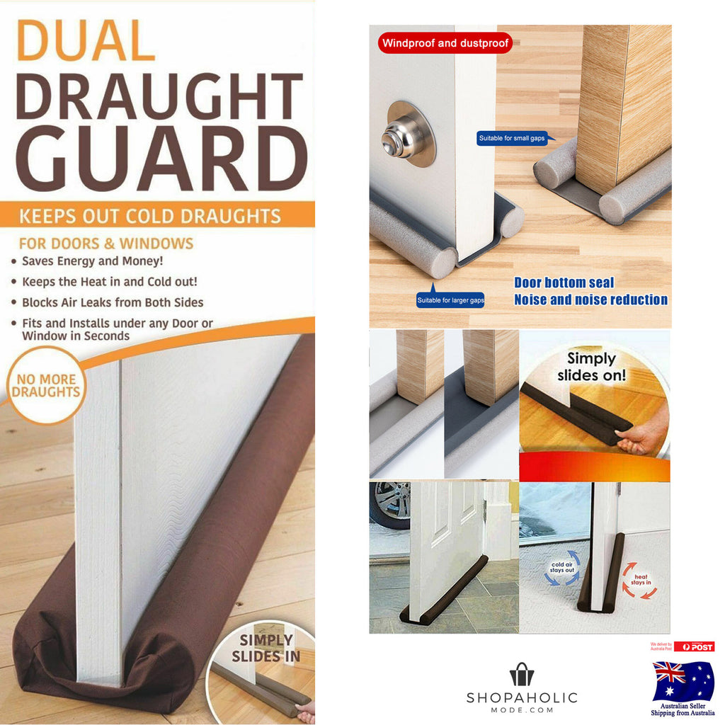 Twin Draft Guard Double Sided Draught Excluder Window Dual Door Snake
