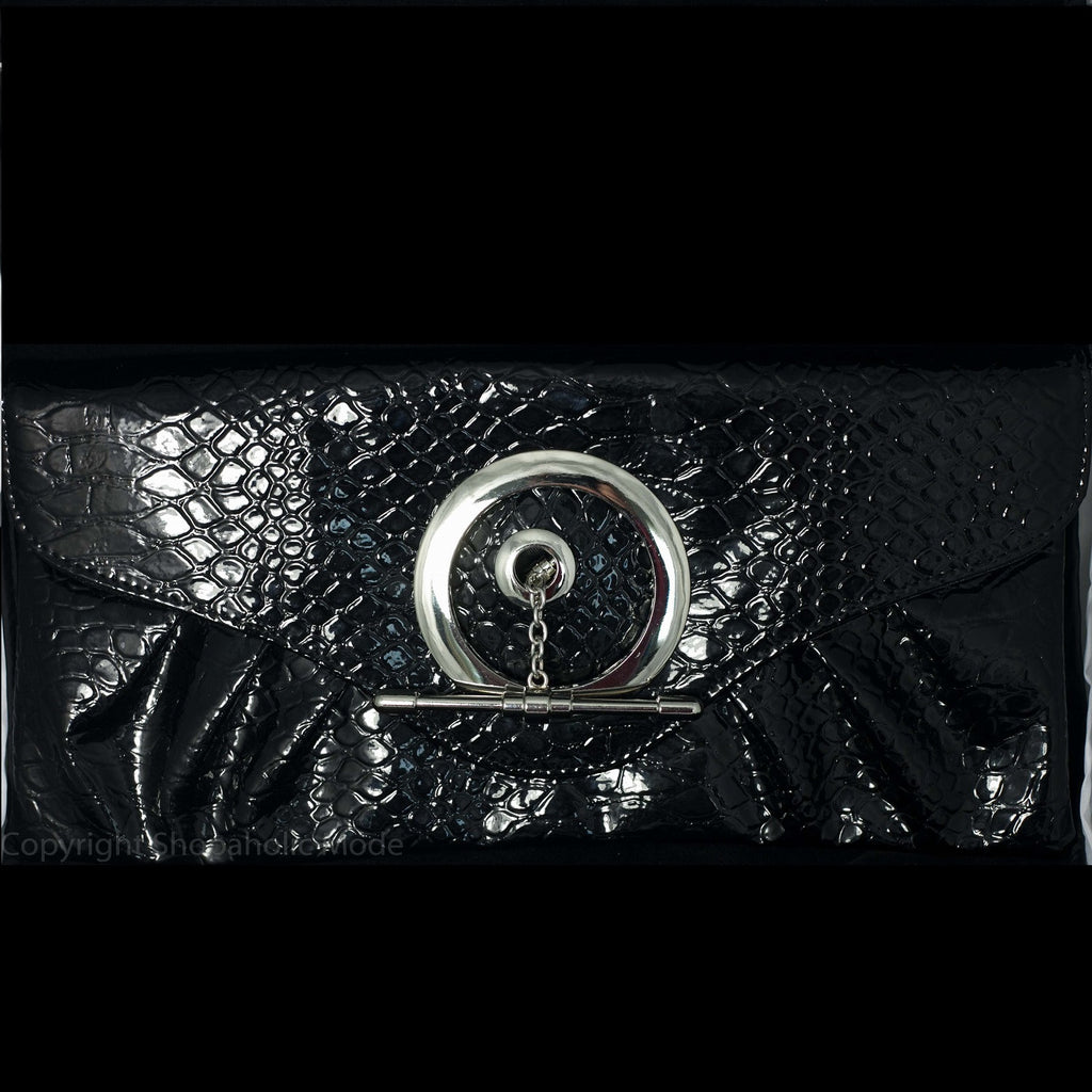 Patent Faux Snake Skin Clutch Purse in Black