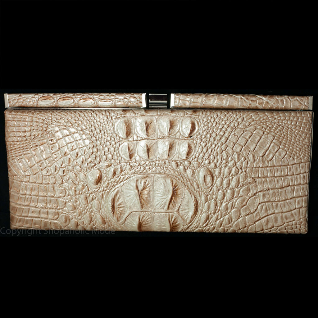 Faux Croc Skin Hard Cased Clutch Purse