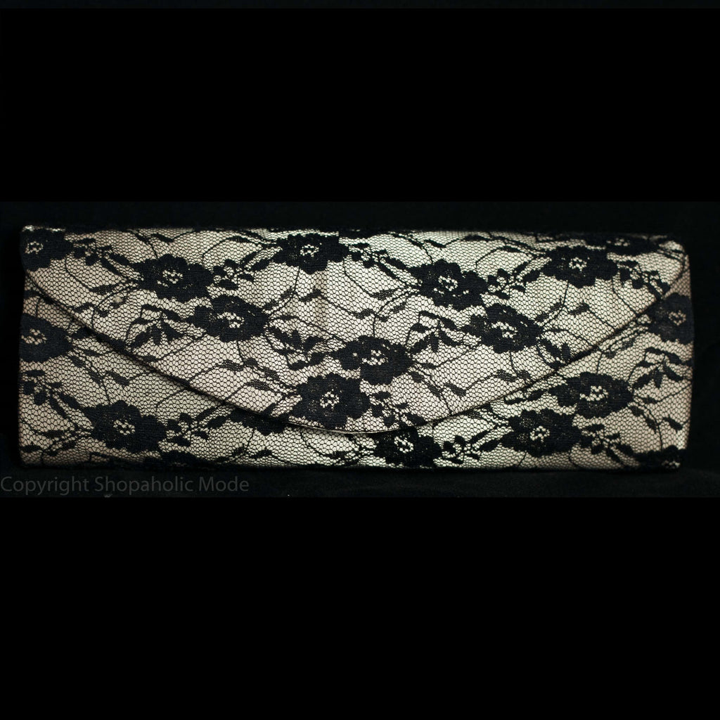 Satin and Black Lace Hard Cased Clutch Purse