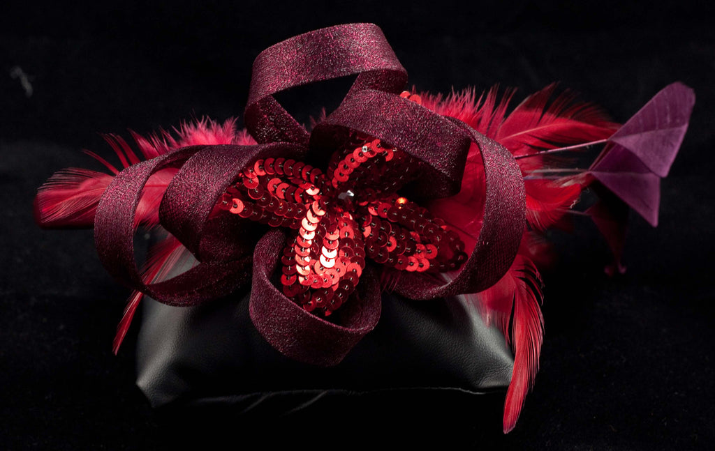 Hair Fascinator on Hair Band with Feathers, Mesh Ribbons & Sequins