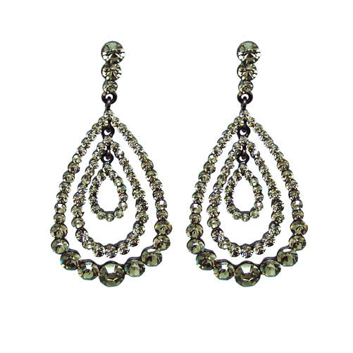 Black Cubic Zirconia and Rhinestone Chandelier Drop Earrings