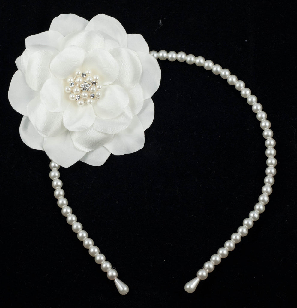 Ivory Faux Pearl and Rhinestones Daisy Hair Band