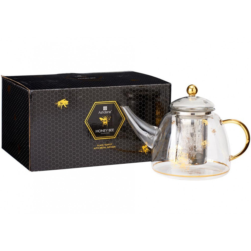 ‌Ashdene Honey Bee Borosilicate Glass Teapot 1300 mL