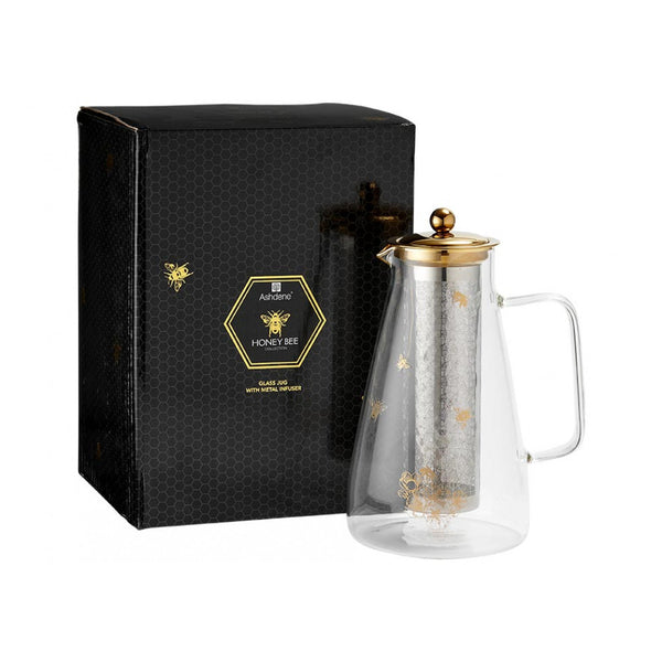 Ashdene Honey Bee Glass Double Wall Infuser Jug Teapot 1500 mL