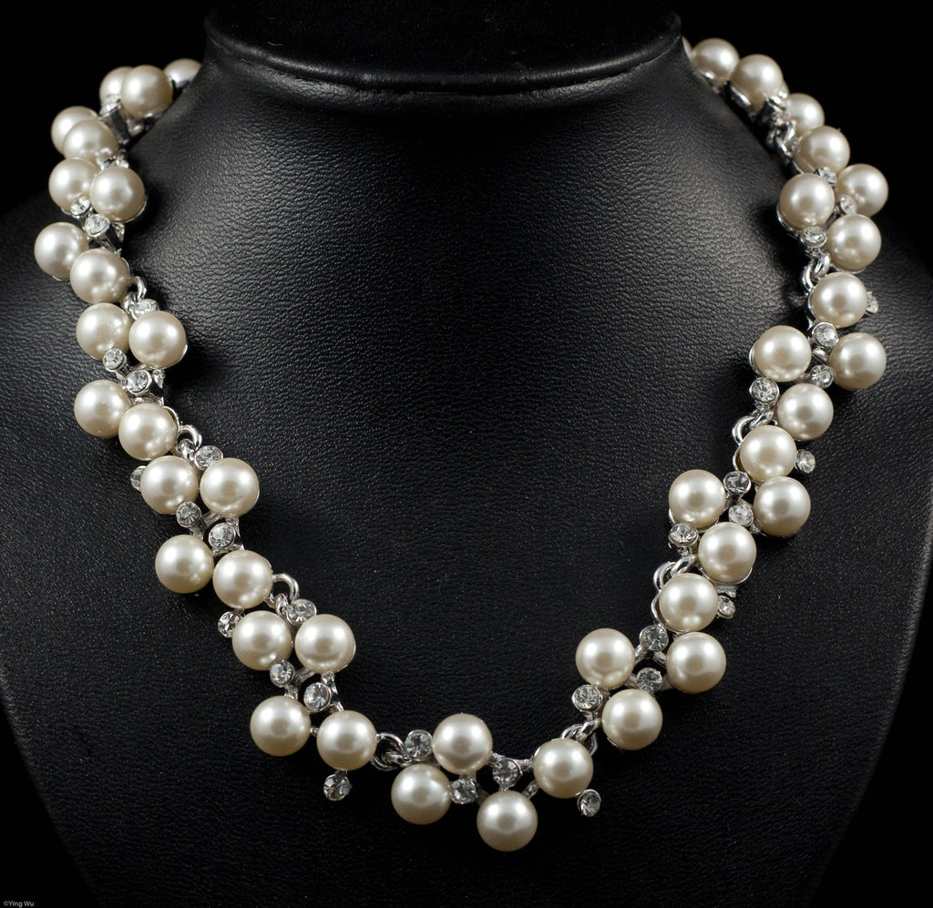 Grace - Rhinestone and Faux Pearl Necklace