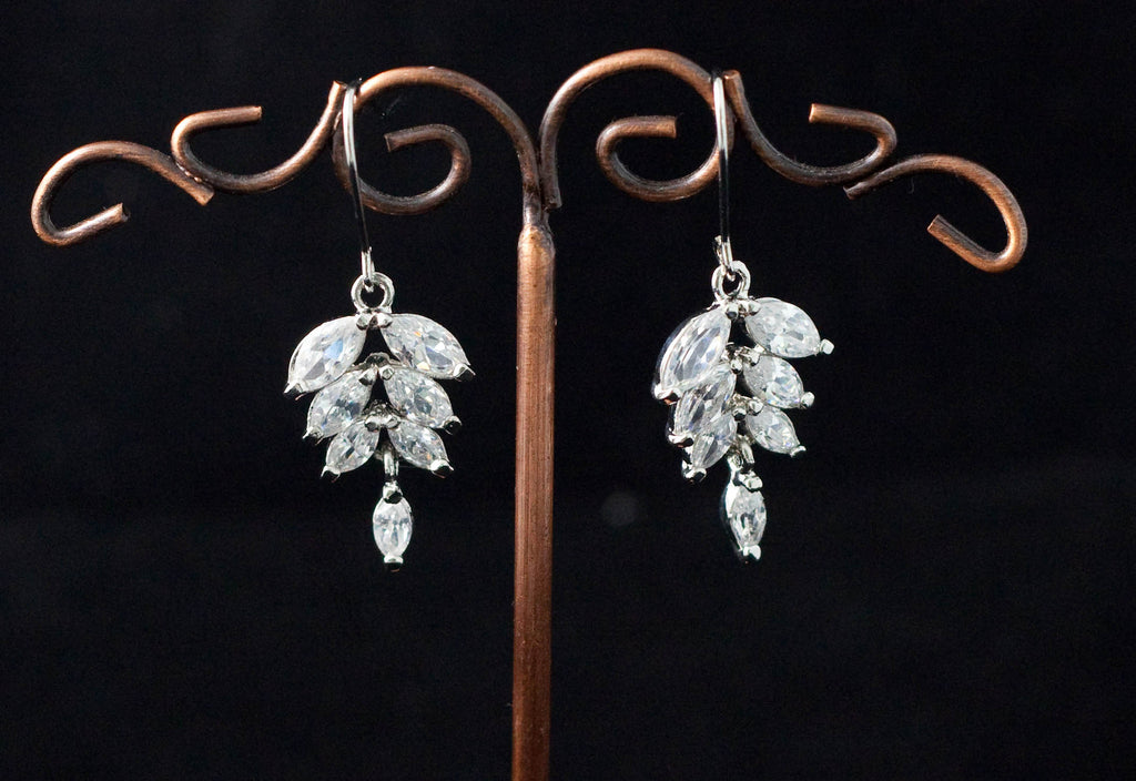 Diamonte Earrings in a Leaf
