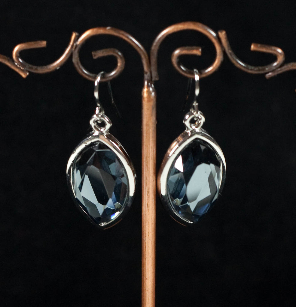 Blue Oval Diamonte Earrings