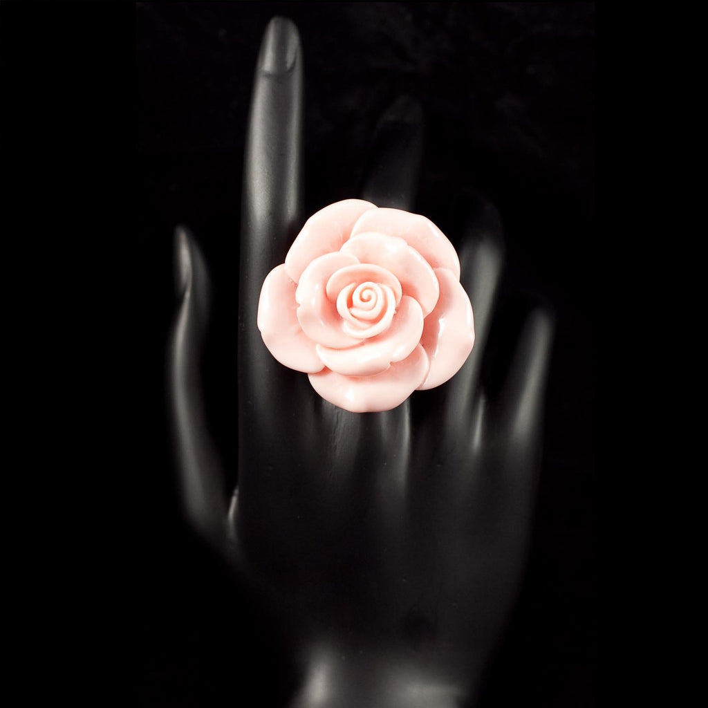 Pink Stretchable Rose Statement Rings