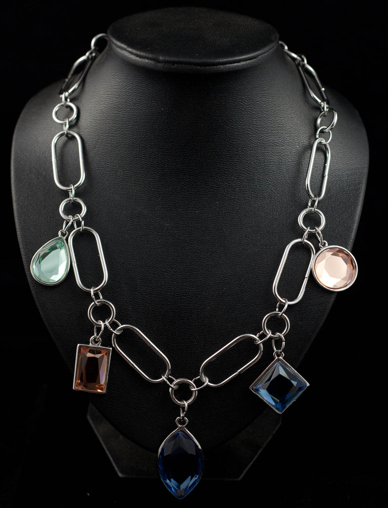 Multi Shaped and Coloured Mirror Glass Diamonte Necklace