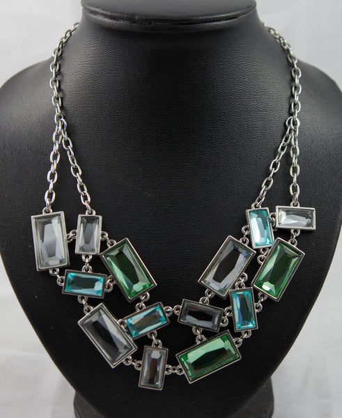 2 Stranded Multi Colour Mirror Glass Diamonte Necklace
