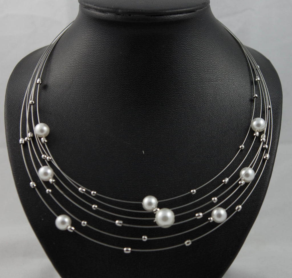 Multi Wired Pearl Necklace