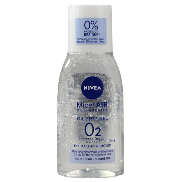 3 x Nivea MicellAIR Eye Make-Up Remover Gel 125mL - Oil Free