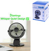 360° Portable Clip On Travel Fan USB Rechargeable