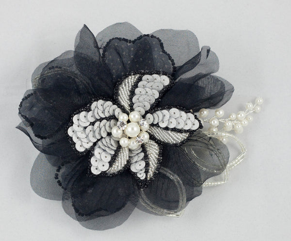 Black & Silver Handmade Organza Flower Faux Pearl Sequins & Crystal Fascinator