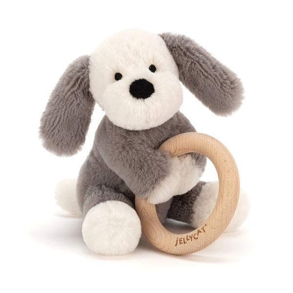 Jellycat Plush Shooshu Puppy Wooden Ring Toy