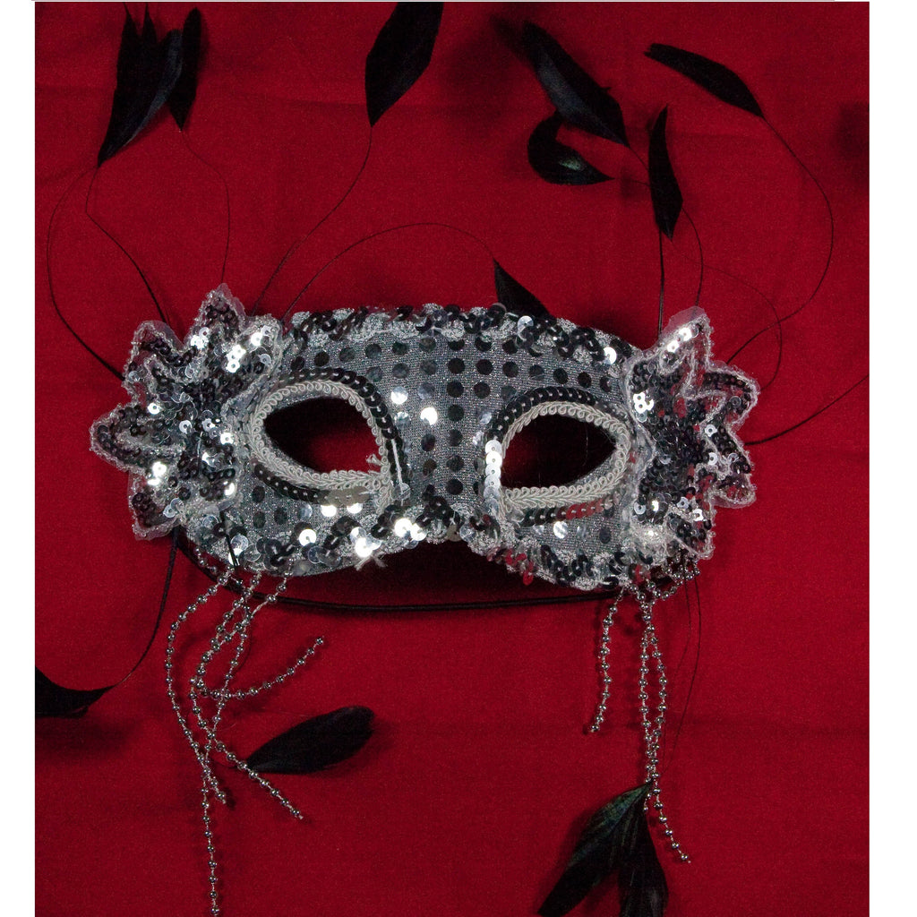 Silver Venetian Costume Mask Masquerade Party