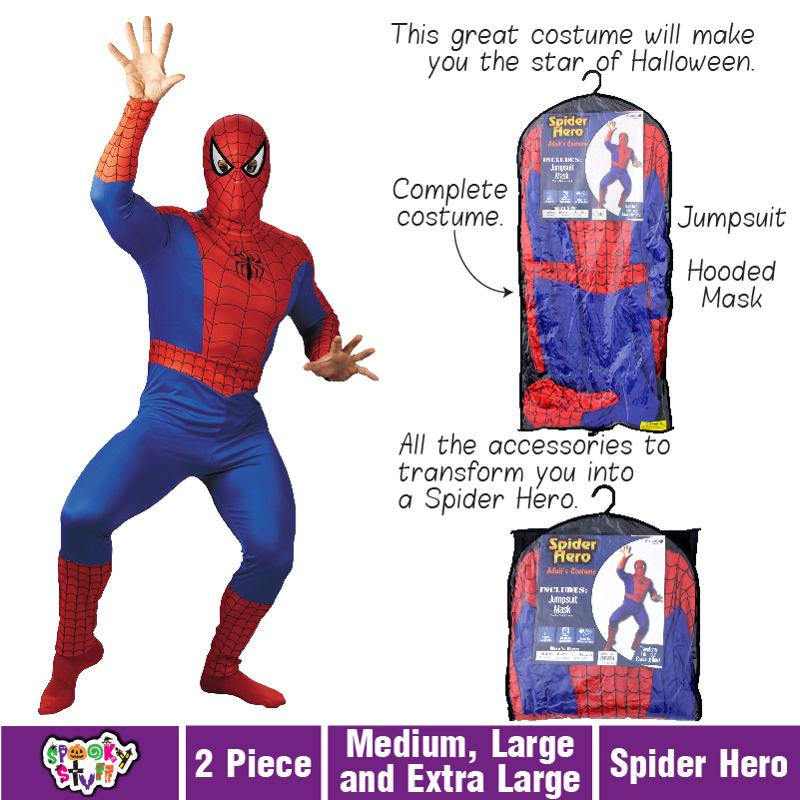 Adult Spiderman Super Hero Halloween Fancy Dress Costume