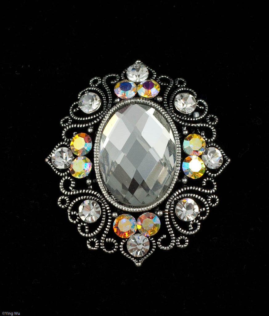 Clarity - Clear Rhinestone and AB Stone Brooch