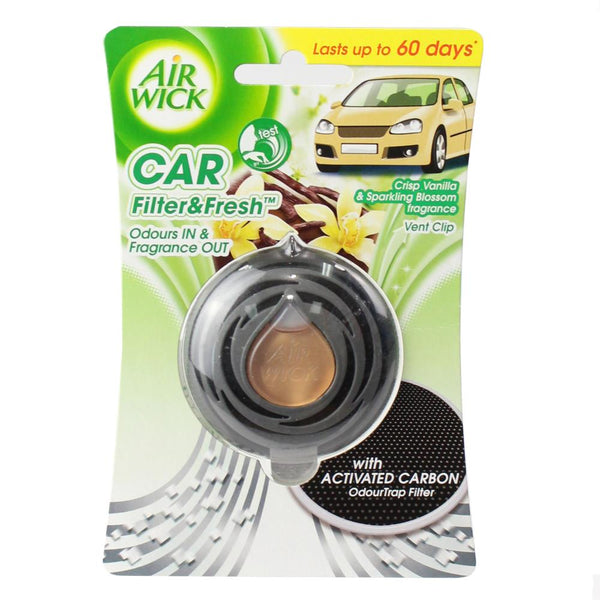 4 x Air Wick Car Filter & Fresh Vent Clip Air Freshener - Vanilla & Blossom