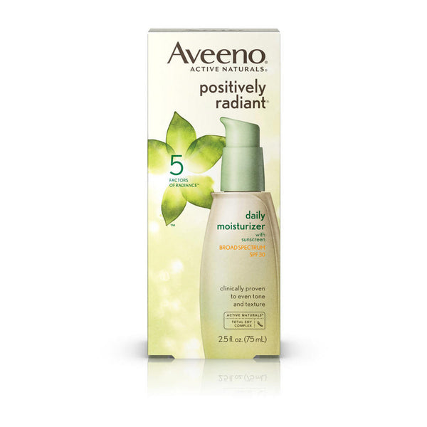2 x Aveeno Positively Radiant Daily Moisturiser SPF 15 UVA/UVB Sunscreen 75mL