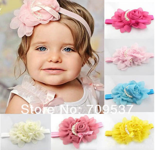 Chiffon and Faux Pearl Flower Headband for Babies and Toddlers