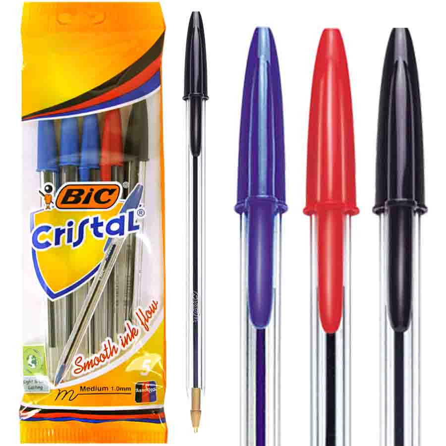 Pack of 5 Bic Cristal Xtra Life Ballpoint Pens