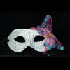 White Venetian Costume Mask Masquerade Party Mardi Gra with Pink Butterfly