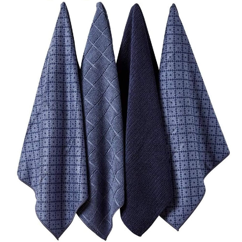 Ladelle Set of 4 Microfibre Carver Navy Tea Towels 45cm x 70cm