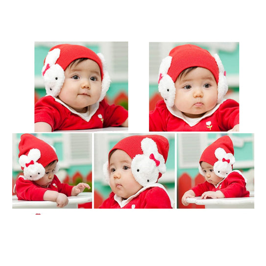 Red and White Winter Beanie with Bunny Rabbit Ear Flaps for Babies & Toddlers