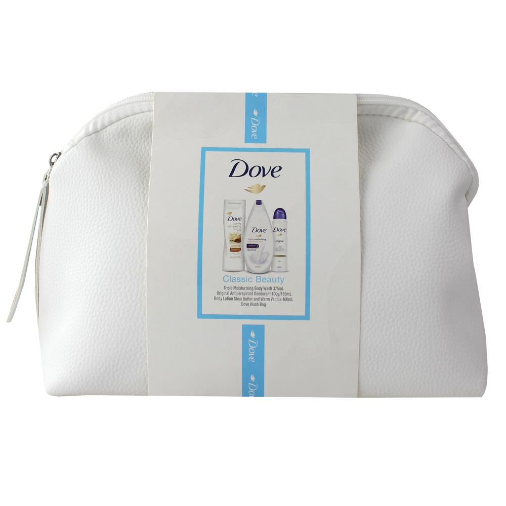 Dove Classic Beauty Gift Set - Body Wash, Deodorant, Body Lotion & Wash Bag