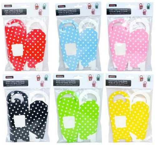 8 x Polka Dot Window Candy Sweets Gift Box with Handle - 6 Colours Available