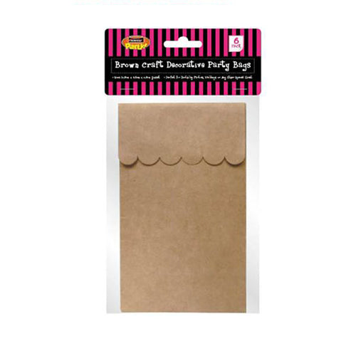 16 Brown Kraft Paper Party Bags Scalloped  Edge - 16.5cm x 9.5cm x 6.5cm Gusset