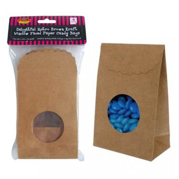 24 Brown Kraft Paper Window Faced Candy Lolly Party Bags - 14cm x 9.5cm x 5cm