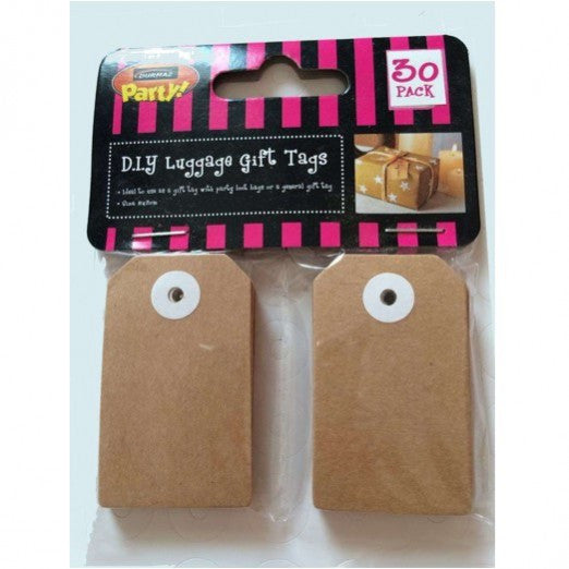 2 x Pack of 30 Brown Kraft Luggage Gift Tags - Small 5cm x 3cm