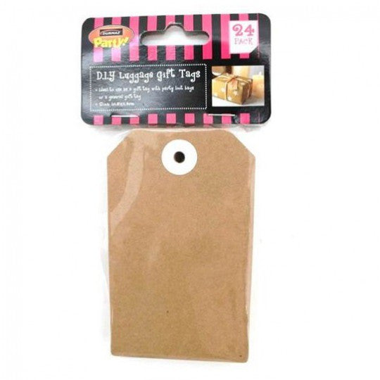 2 x Pack of 24 Brown Kraft Luggage Gift Tags - Extra Large 10.5cm x 6.4cm