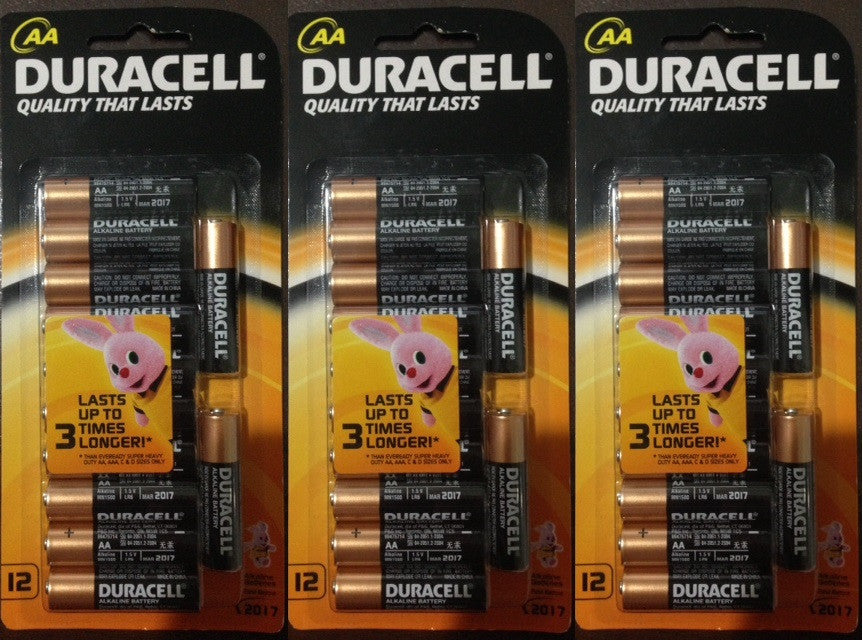3 Packs of 12 AA Duracell Alkaline Batteries