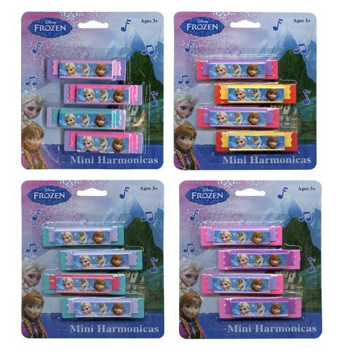 Pack of 4 Licensed Disney Mini Harmonicas - Frozen, Disney Princess, Mickey Mouse Clubhouse