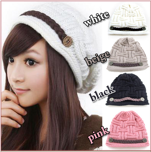 Gangnam Style Knitted Beanie w Button & Braided Detail in Black