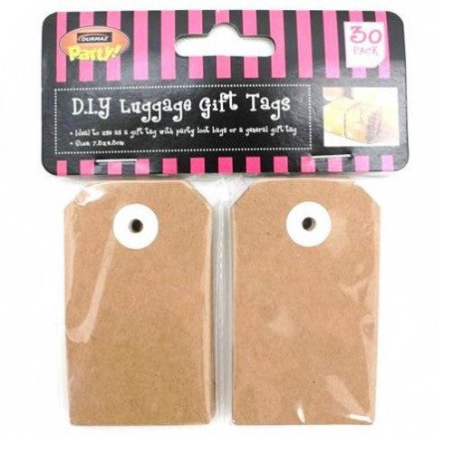 2 x Pack of 30 Brown Kraft Luggage Gift Tags - Large 4.7cm by 7.3cm