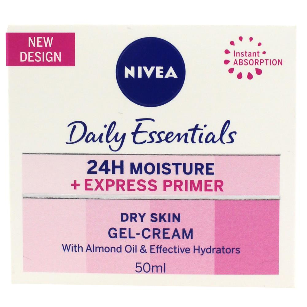 3 x Nivea Daily Essentials 24H Moisture + Express Primer Gel Cream 50mL - Dry