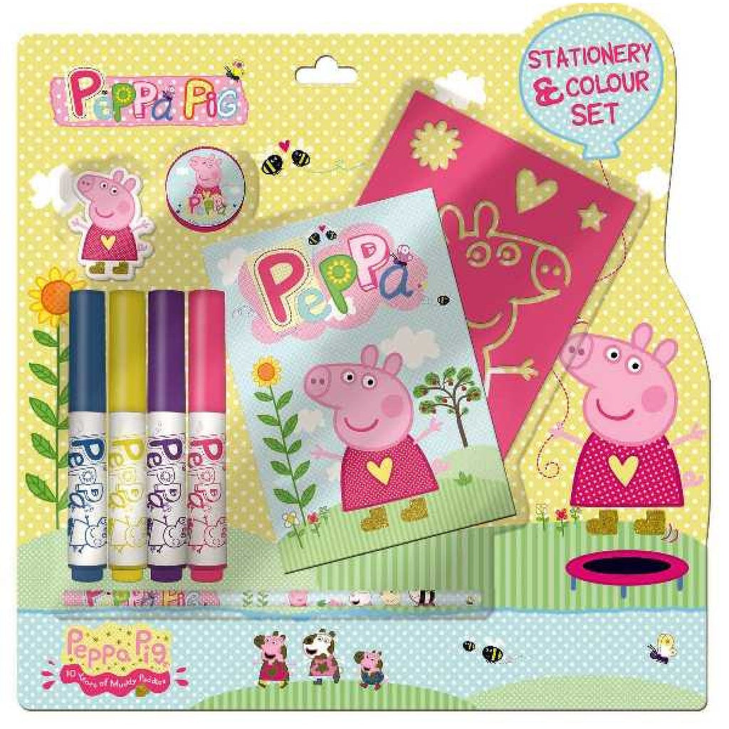 Peppa Pig Stationary Colour Set - Notepad, Stencil, Markers, Pencil, Sharpener + More