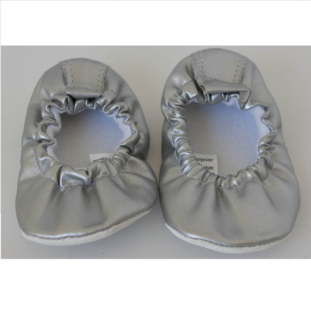 Teeny Toes Baby Infant Silver Ballet Flats 0-6 Months