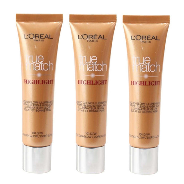 3 x L'Oreal True Match Highlight Liquid Glow Illuminator 101.D/W Golden Glow