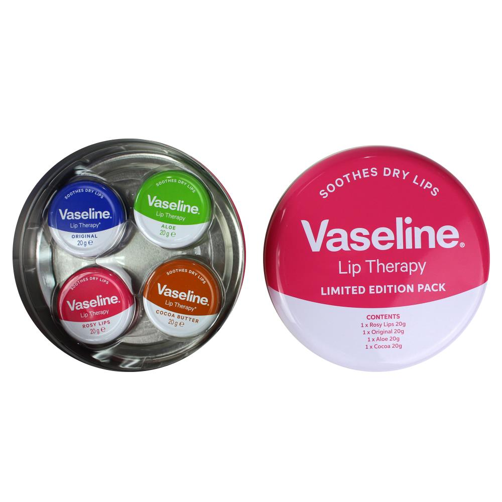 Vaseline Lip Therapy Gift Tin Pack of 4 - Rosy Lips, Original, Aloe, Cocoa