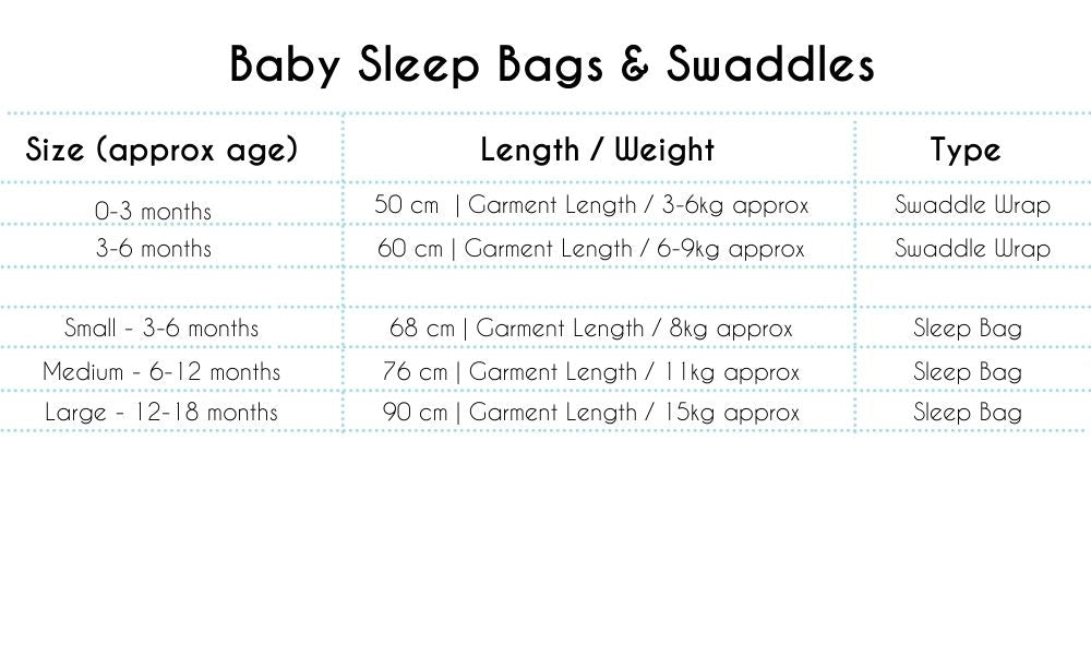 Baby Swaddles and Sleep Bags Size Chart - Bespoke Baby Gifts